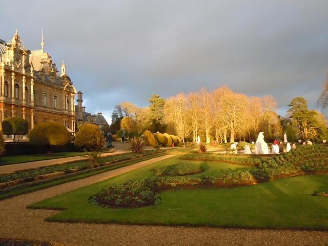 back of Waddesdon, gardens in low winter light